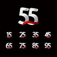 55 anos de comemoração de aniversário número preto e branco ilustração de design de modelo de vetor