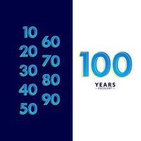 100 anos excelente celebração de aniversário ilustração de design de modelo vetorial traço azul vetor