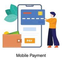 pagamento móvel e conceito bancário vetor