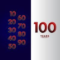 100 anos excelente celebração de aniversário ilustração de design de modelo vetorial linha traço vermelho