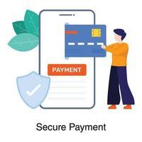 pagamento seguro e conceito bancário vetor