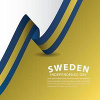 ilustração de design de modelo vetorial feliz celebração do dia da independência da Suécia
