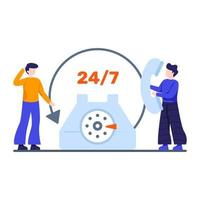 conceito de serviço vinte e quatro horas vetor