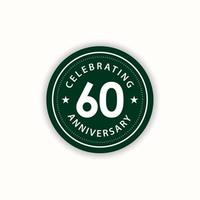 60 anos de aniversário comemorando ilustração retro vintage vector template design