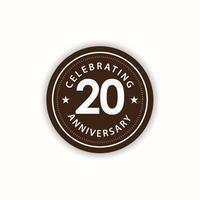 20 anos de aniversário comemorando ilustração retro vintage vector template design