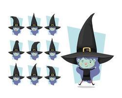Conjunto de garotinha fofa com fantasia de bruxa vetor