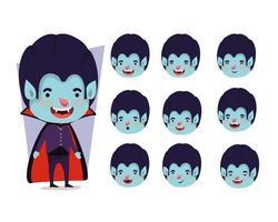 conjunto de garotinho com fantasia de vampiro vetor