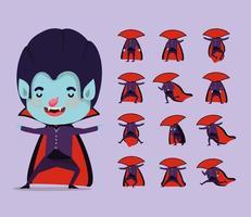 garotinho fofo em uma fantasia de vampiro vetor