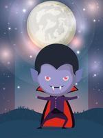 cena da temporada de halloween com menino fantasiado de vampiro vetor