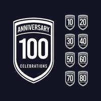100 anos de comemoração de aniversário retrô clássico ilustração vetorial de design