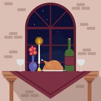 Mesa de jantar diversa vetor