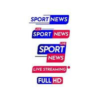 notícias de esporte, notícias de esporte ao vivo, ilustração de design de modelo de rótulo de streaming ao vivo vetor