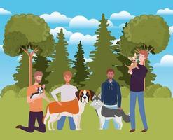 grupo de homens com cães fofos mascotes no acampamento vetor