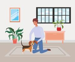 jovem com cachorro fofo mascote na sala de casa