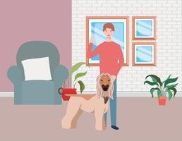 jovem com um cachorro fofo mascote na sala de estar