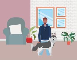 jovem com cachorro fofo mascote na sala de estar