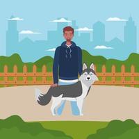 jovem com um cachorro fofo mascote no acampamento vetor