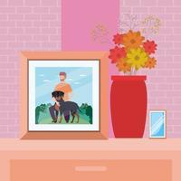 retrato com foto de homem com cena de mascote de cachorro
