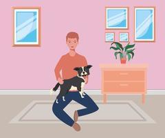 jovem com um cachorro fofo mascote na casa do quarto