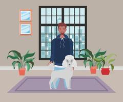 homem com cachorro fofo mascote na casa do quarto vetor