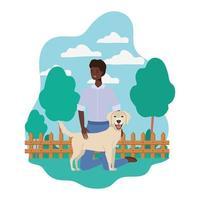 jovem afro com um cachorro fofo mascote no acampamento vetor