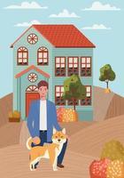 jovem com mascote de cachorro fofo na cena da cidade de outono vetor