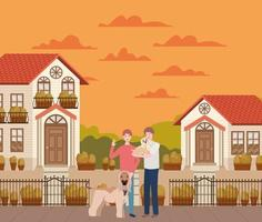 jovens com cães fofos mascotes na cena urbana de outono vetor