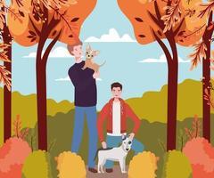 jovens com cães fofos mascotes no acampamento de outono vetor