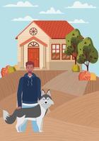 homem com mascote de cachorro fofo na cena da cidade de outono