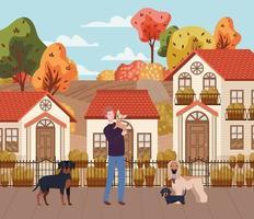 jovem com cães fofos mascotes na cena urbana de outono vetor