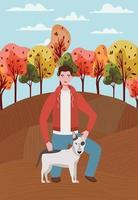 jovem com um cachorro fofo mascote no acampamento de outono vetor