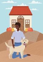 jovem afro com cachorro fofo ao ar livre vetor