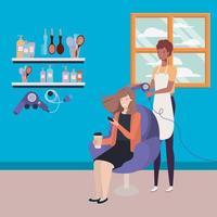 estilista afro fazendo o cabelo da cliente no salão vetor