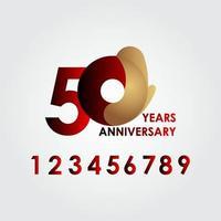 50 anos de comemoração de aniversário de ouro vermelho ilustração vetorial de design de modelo