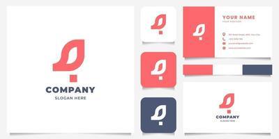 logotipo de passarinho geométrico simples e minimalista com modelo de cartão de visita