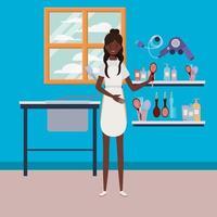 jovem estilista de cabelo afro no salão de cabeleireiro vetor