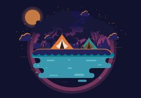 Acampamento de noite no vetor de montanha