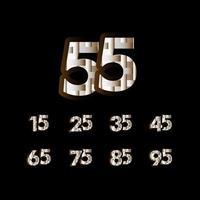55 anos de celebração de aniversário elegante número preto ilustração de design de modelo vetorial