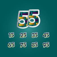 55 anos de comemoração de aniversário de cor elegante número ilustração vetorial de modelo de design