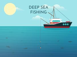 Fundo de pesca em alto mar vetor