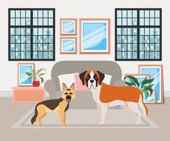cachorrinhos fofos na sala de estar