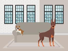 cachorrinhos fofos na sala de estar vetor