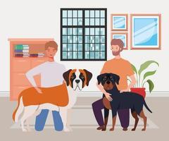 jovens com cachorros fofos mascotes na casa