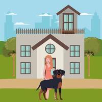 mulher jovem com cachorro fofo ao ar livre