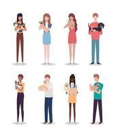 jovens com cachorros fofos mascotes personagens vetor