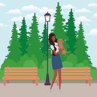 jovem mulher afro levantando um cachorro fofo no campo