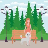 jovem com mascote de cachorro fofo no parque vetor