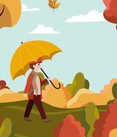 menino no parque com guarda-chuva, cena de outono
