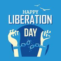 Mãos com corrente quebrada para o conceito de dia da libertação vetor