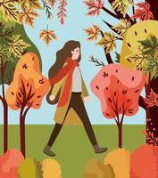mulher no parque, cena de outono
